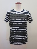 Y's YOHJI YAMAMOTO (ワイズ ヨウジヤマモト)、ボーダー天竺擦れ顔料PIGTシャツ:ネイビー