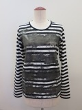 Y's YOHJI YAMAMOTO (ワイズ ヨウジヤマモト)、ボーダー天竺擦れ顔料PIG長袖Tシャツ:ブラック