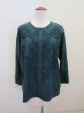 KEI Hayama PLUS(ケイハヤマプリュス),プラット・エアーインオーナメント柄刺繍7分袖ブラウスジャケット:グリーン