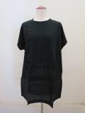 KEI Hayama PLUS(ケイハヤマプリュス),プレーティング天竺キュプラテープ刺繍半袖チュニックTシャツ:ブラック