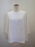 KEI Hayama PLUS(ケイハヤマプリュス),プレーティング天竺キュプラテープ刺繍七分袖Tシャツ:ホワイト
