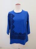KEI Hayama PLUS(ケイハヤマプリュス),プレーティング天竺キュプラテープ刺繍七分袖Tシャツ:ブルー