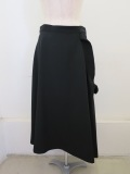 Y's YOHJI YAMAMOTO (ワイズ ヨウジヤマモト),シワギャバ斜めフレアスカート:ブラック