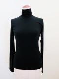 Y's YOHJI YAMAMOTO (ワイズ ヨウジヤマモト),Nyストレッチ天竺定番ハイネック長袖Tシャツ:ブラック
