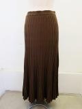 H.A.K (ハク),コットンリブ編み12Gロングスカート:カーキ×ラインがブラック