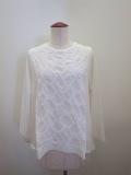 KEI Hayama PLUS(ケイハヤマプリュス),ジグザグモチーフ刺繍×ギザリヨセル天竺長袖Tシャツ:ホワイト