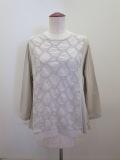 KEI Hayama PLUS(ケイハヤマプリュス),ジグザグモチーフ刺繍×ギザリヨセル天竺長袖Tシャツ:ライトグレー