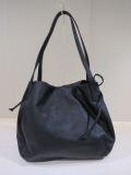 Y's YOHJI YAMAMOTO (ワイズ ヨウジヤマモト),シュリングレザーサークル絞りバッグ:ブラック