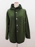 KEI Hayama PLUS(ケイハヤマプリュス),ブークレーフード付きジャケット:オリーブグリーン