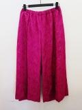 KEI Hayama PLUS(ケイハヤマプリュス),キュプラコットンシワ加工刺繍レースワイドクロプドパンツ:ピンク