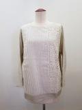 KEI Hayama PLUS(ケイハヤマプリュス),製品洗いストライプ&レース8分袖Tシャツ:生成り