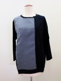 KEI Hayama PLUS(ケイハヤマプリュス),製品洗いストライプ&レース8分袖Tシャツ:ネイビー