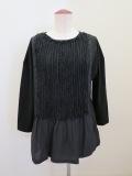 KEI Hayama PLUS(ケイハヤマプリュス),製品洗いコットンシルクチュールテープ七分袖Tシャツ:ブラック