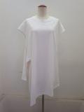 Y's YOHJI YAMAMOTO (ワイズ ヨウジヤマモト) 右スリットフレンチTシャツ:ホワイト