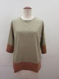 ロジェ(ROSIER) リヨセルコットンジャージ五分袖Tシャツ:サウンドカーキ×トパーズオレンジ