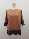 ロジェ(ROSIER) リヨセルコットンジャージ五分袖Tシャツ:トパーズオレンジ×カナールグリーン