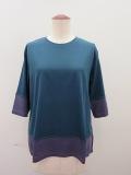 ロジェ(ROSIER) リヨセルコットンジャージ五分袖Tシャツ:カナールグリーン×アッシュパープル