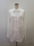 Y's YOHJI YAMAMOTO (ワイズ ヨウジヤマモト) 100/2綿ブロードフロントリボンブラウス:ホワイト