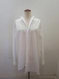 Y's YOHJI YAMAMOTO (ワイズ ヨウジヤマモト) 100/2綿ブロードアシメスクエアシャツ:ホワイト