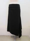 Y's YOHJI YAMAMOTO (ワイズ ヨウジヤマモト) 8ozブラックデニム製品染めマーメイドスカート:ブラック