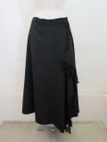 Y's YOHJI YAMAMOTO (ワイズ ヨウジヤマモト) シワギャバフレアラップスカート:ブラック