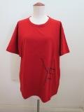 Y's YOHJI YAMAMOTO (ワイズ ヨウジヤマモト) 綿天竺Y's刺繍風発砲プリント丸首半袖Tシャツ:レッド