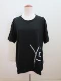 Y's YOHJI YAMAMOTO (ワイズ ヨウジヤマモト) 綿天竺Y's刺繍風発砲プリント丸首半袖Tシャツ:ブラック