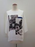 KEI Hayama PLUS(ケイハヤマプリュス) フォットコラージュプリントトルファンゴールド天竺七分袖Tシャツ:ホワイト