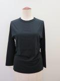 KEI Hayama PLUS(ケイハヤマプリュス) 100/2ピン天竺バイオ七分袖Tシャツ:ブラック