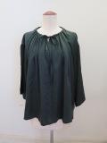 ロジェ(ROSIER) ビンテージリヨセルサテン襟元ギャザー七分袖ブラウス:グリーン