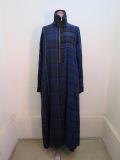 Y's YOHJI YAMAMOTO (ワイズ ヨウジヤマモト) 大小チェックラグランAライン長袖ドレス:ブルー