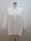 KEI Hayama PLUS(ケイハヤマプリュス) ハンド刺繍綿ラミーローン七分袖ブラウス:ホワイト