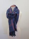 Y's YOHJI YAMAMOTO (ワイズ ヨウジヤマモト) 綿麻平織りウインドペンストール:ブルー