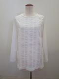KEI Hayama PLUS(ケイハヤマプリュス) 小花ストライプレース刺繍長袖Tシャツ:ホワイト