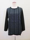 KEI Hayama PLUS(ケイハヤマプリュス) 小花ストライプレース刺繍長袖Tシャツ:ブラック