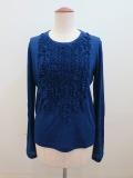 Y's YOHJI YAMAMOTO (ワイズ ヨウジヤマモト) ガーゼ天竺タチキリフリルタタキ付Tシャツ:ブルー