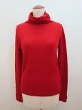 Y's YOHJI YAMAMOTO (ワイズ ヨウジヤマモト) テレコ袖口スリットハイネックTシャツ:レッド