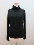 Y's YOHJI YAMAMOTO (ワイズ ヨウジヤマモト) テレコ袖口スリットハイネックTシャツ:ブラック