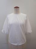 g.ジードット  ハーフスリーブ袖口リブTシャツ:ホワイト