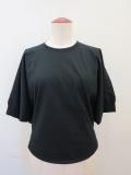 g.ジードット  ハーフスリーブ袖口リブTシャツ:ブラック