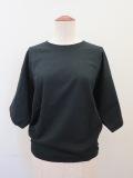 g.ジードット ラウンドシルエット五分袖Tシャツ:ブラック