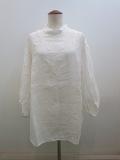 KEI Hayama PLUS(ケイハヤマプリュス) あざみレース刺繍リネンワッシャー七分袖オーバーブラウス:ホワイト
