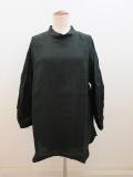 KEI Hayama PLUS(ケイハヤマプリュス) あざみレース刺繍リネンワッシャー七分袖オーバーブラウス:ブラック