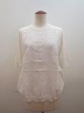 KEI Hayama PLUS(ケイハヤマプリュス) 16Gハイツイストモダールコットン×あざみレース刺繍半袖ニット:ホワイト