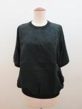 KEI Hayama PLUS(ケイハヤマプリュス) 16Gハイツイストモダールコットン×あざみレース刺繍半袖ニット:ブラック