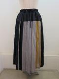 KEI Hayama PLUS(ケイハヤマプリュス) パネルマルチストライプウエストゴム タックプリーツスカート:グレー
