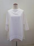 KEI Hayama PLUS(ケイハヤマプリュス) ピマ天竺バイオ×リネンブロード6分丈ビッグTシャツ:ホワイト