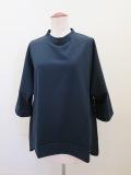 KEI Hayama PLUS(ケイハヤマプリュス) ピマ天竺バイオ×リネンブロード6分丈ビッグTシャツ:ネイビー