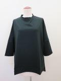 KEI Hayama PLUS(ケイハヤマプリュス) ピマ天竺バイオ×リネンブロード6分丈ビッグTシャツ:ブラック