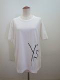Y's YOHJI YAMAMOTO (ワイズ ヨウジヤマモト) 綿天竺Y's刺繍風発砲プリント丸首半袖Tシャツ:ホワイト